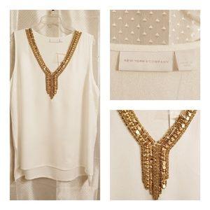 New York & Co. White Beaded Sleeveless Size L